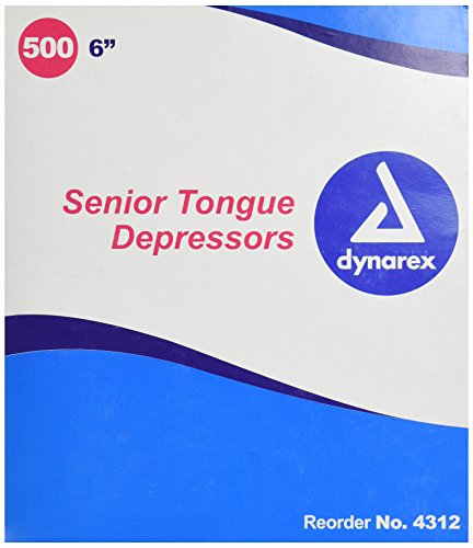 Dynarex Tongue Depressors - Dynarex Tongue Depressor, Senior,  6 Inches, Non-Sterile, 500 Count (Pack of 2)