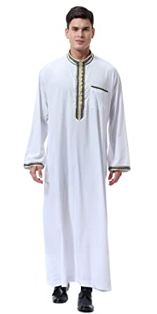 Ababalaya Men s Stand Neck Applique Long Sleeve Saudi Arab Thobe Islamic  Muslim Dubai Robe 5b196beb0