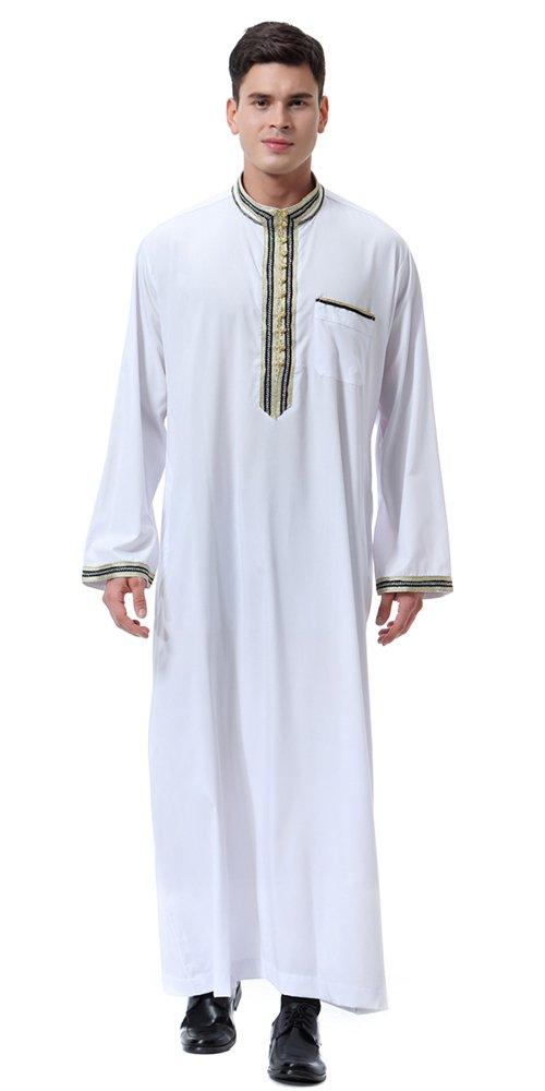 Ababalaya Men's Stand Neck Applique Long Sleeve Saudi Arab Thobe Islamic Muslim Dubai Robe,White,M Fits US 34