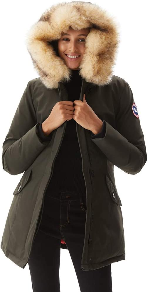 PUREMSX Women's Duck Down Jacket Ladies Padded Long Thicken Parka Fur Hood Winter Outwear Warm Overcoat