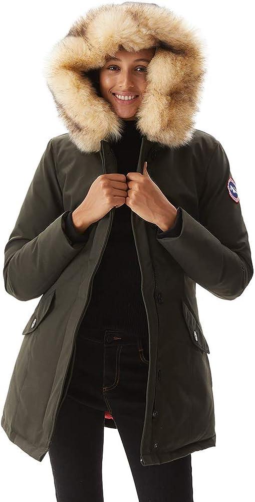 PUREMSX Women's Winter Duck Down Parka Ladies Padded Long Thicken Jacket Fur Hood Outwear Warm Overcoat