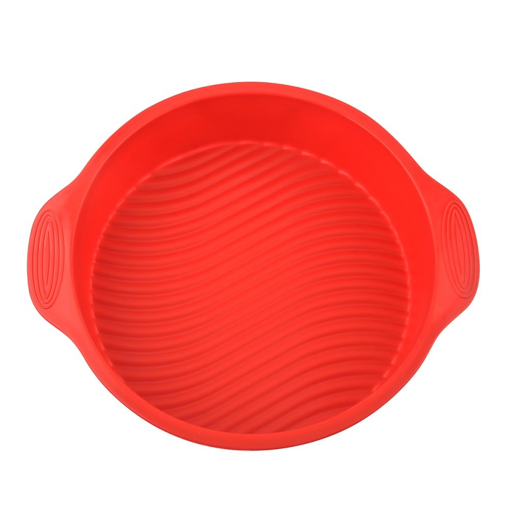 Silicone Bundt Cake Pan, Cake Mold,BPA Free,9 Inch thin(Thickened & Large) (Red)