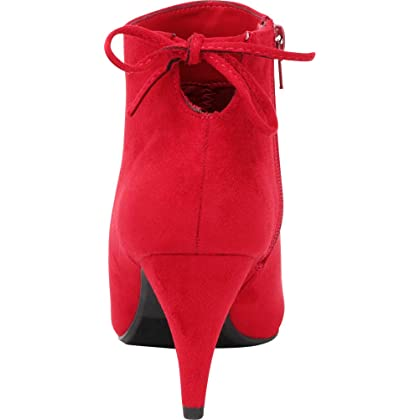41d9699b0d10b ... Cambridge Select Women's Pointed Toe Back Tie Mid Heel Ankle Bootie,7.5  B(M ...