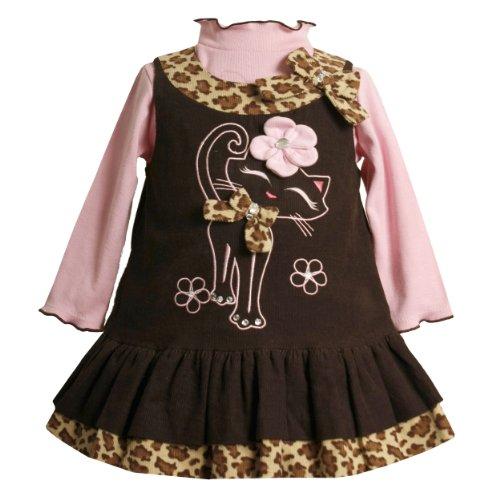- Baby Girls 3M-24M Brown/Pink Cat Applique Corduroy Jumper Dress, Brown, 3-6 Months