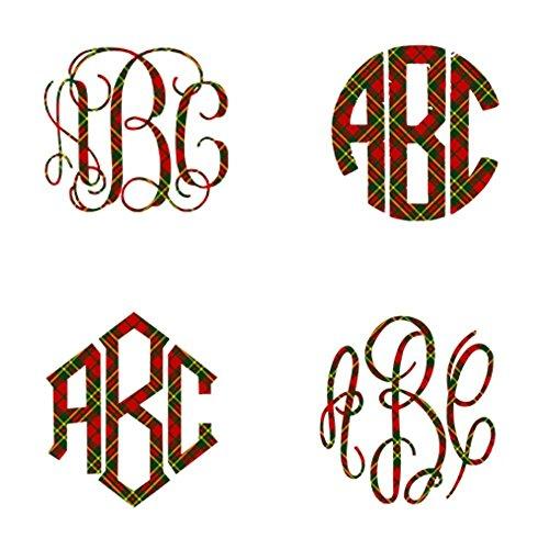 Christmas Plaid Vinyl Monogram Decal for Your 30oz or 20oz T