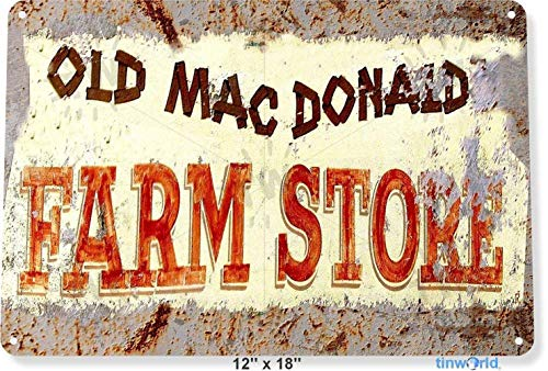 Markil Old Mac Donald's Mc N Shop World A72 Decoration Retro Vintage Tin Sign for Bar Coffee Cafe Afternoon Tea Barbecue Shop (Mc Donalds Barbecue)