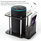 [#1 Deal] Echo Stand, UE Megaboom Stand - Acrylic Speaker Stand for Alexa Amazon Echo Plus,1st Generation Echo and Echo 2nd Generation(Get 4 Screws in Promotion) , with Remote Holder, Black, Enhanced