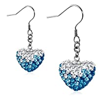 Stainless Steel Love Heart Shamballa Long Drop Hook Earrings w/ Clear & Blue CZ (pair) - EEZ069