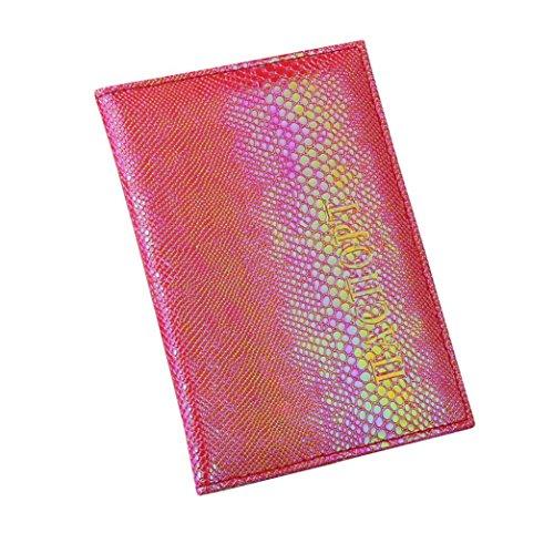 Longra Copertina morbida per passaporto per porta biglietti da visita con lucchetto per passaporto (Rosso)