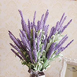 KAYAN 5 Bundles Artificial Lavender Flowers Bouquet Fake Lavender Plant Bundle Artificial Plant for Wedding, Home Decor, Office, Garden, Patio Decoration 37