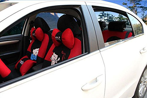 20pcs/SET new 2016 luxury Women love cartoon Lover Seat Covers for cars Front & Back car covers four seasons Universal car seat cover car interior red & Black V5611 by Maimai88