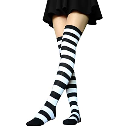3e4688cc3 SEADEAR Striped Over Knee Thigh High Long Stocking Socks Wide Stripes Thigh High  Stockings for Women