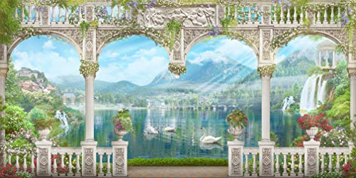 (20x10 ft Studio Scenic Backdrop for Photography White Arch with Mountains and Swans Beautiful Spring Scenery Photography Booth)