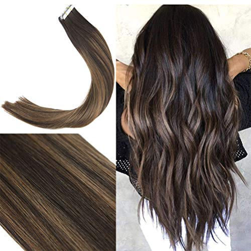 Youngsee 20inch 40pcs 100gram Balayage Tape Hair Extensions Human Hair Balayage Brown with Medium Brown Silk Straight Dip Dyed Remy Human Hair Tape in Extensions ()