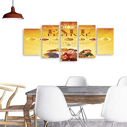 UHOO Five Pieces Wulian PaintingAutumn Harvest Festival Invitation Design Fall Thanksgiving Party Vector Illustration .Living Room Office Decor Gift -