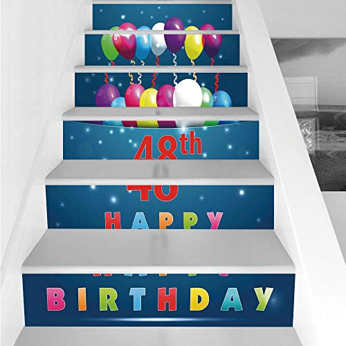 Stair Stickers Wall Stickers,6 PCS Self-Adhesive,48th Birthday Decorations,Greeting Happy Party Event Balloons Ribbon Joyful Illustration,Multicolor,Stair Riser Decal for Living Room, Hall, Kids Room
