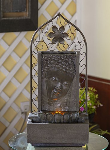 Jeco Inc. Buddha Wall and Metal Flower Fountain with Led Light