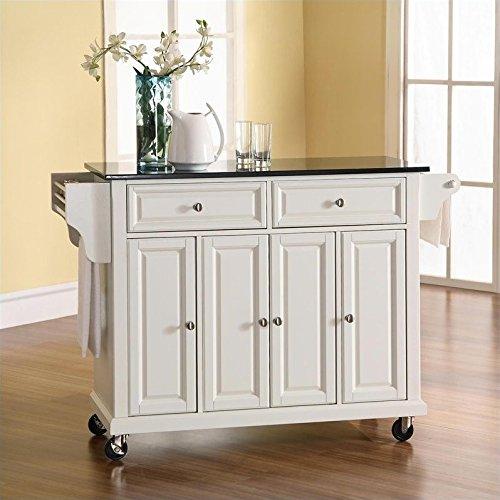 Crosley Furniture Solid Black Granite Top Kitchen Cart/Island in White Finish