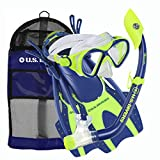 U.S. Divers Youth Buzz Junior Snorkeling Set, Neon Blue, Large (3-6)