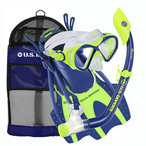 U.S. Divers Youth Buzz Junior Snorkeling Set, Blue Neon - Large