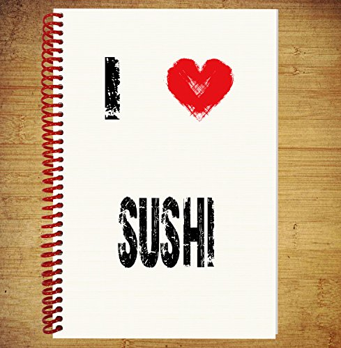 AKGifts A5 Notebook / Drawing Pad Diary Thoughts Ideas Plans - I Love Sushi (7 - 10 BUSINESS DAYS DELIVERY FROM (Halloween Main Course Dishes)