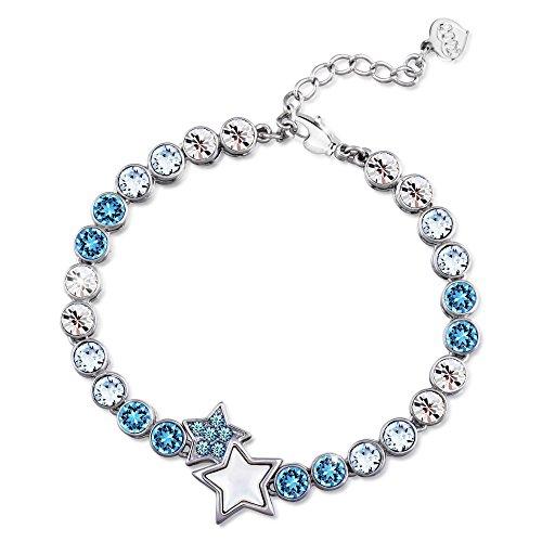 (T400 Jewelers Blue Star Crystal Tennis Link Bracelet Graduation Gift for Girls Women)