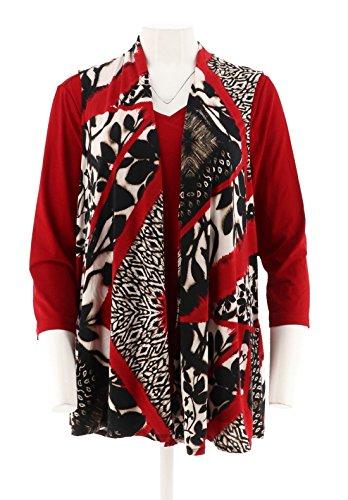 Susan Graver Printed Liquid Knit Vest Set Back Buttons A292300, Black Red, M
