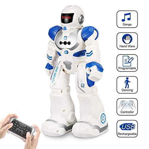 FUNEW Remote Control Robots for Kids RC Programmable Robotics with Infrared Controller Toys, Gesture Sensing Interactive Walking Singing Dancing Robot Kit for Childrens Entertainment,Blue