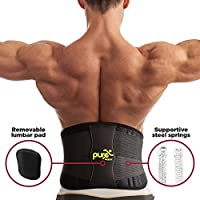 Lumbar Back Support - Lower Back Brace - Waist Support Belt with Removable Pad and Dual Adjustable Straps for Men and Women from Pure Support