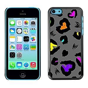 TopCaseStore / la caja del caucho duro de la cubierta de protección de la piel - Fur Jaguar Pattern Grey - Apple iPhone 5C