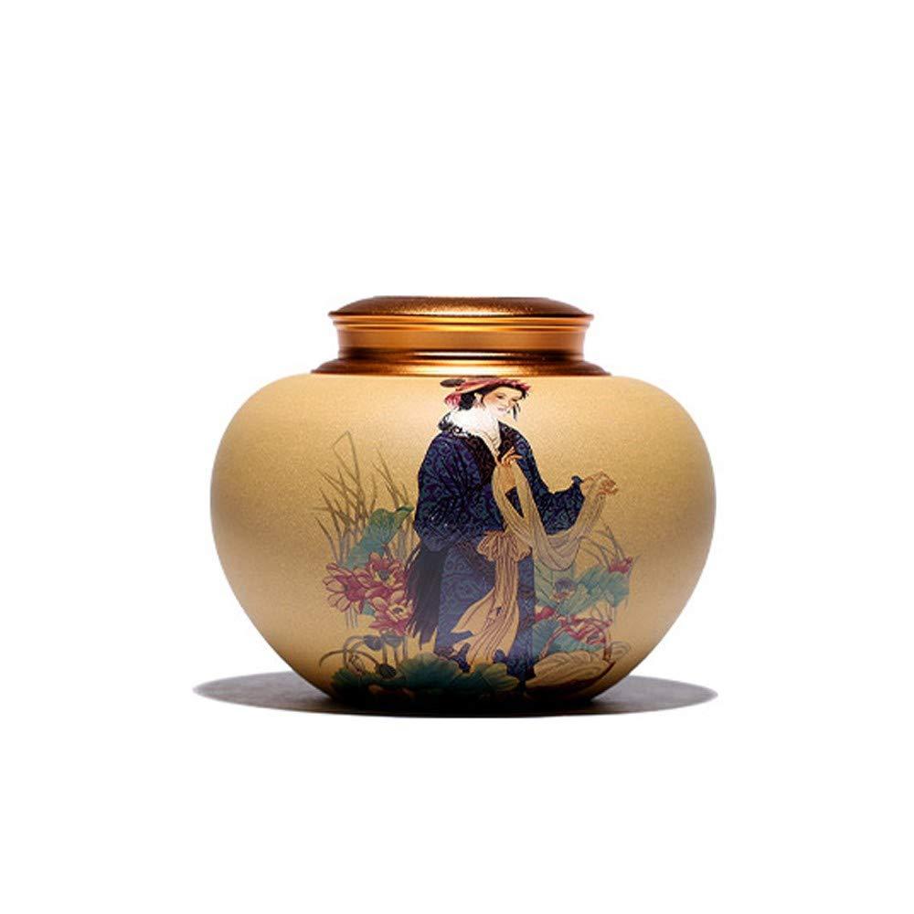 Antica bellezza cinese Shih Tzu ZYHJAMA Cremazione urna per ceneri umane adulto e bara da compagnia ceramica, pittura a mano antica bellezza cinese