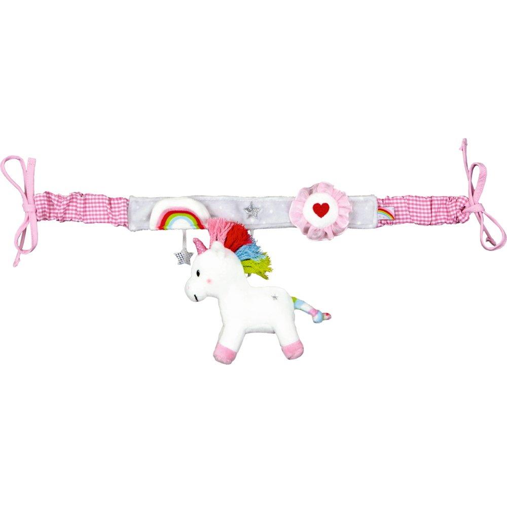 Jeu, jouet pour bébé - accessoires pour berceau, lit bébé, poussette - chaîne en peluche à suspendre avec 2 crochets - environ 47/59 cm - 90% polyester, 10% coton - série BabyGlück - Licorne magique