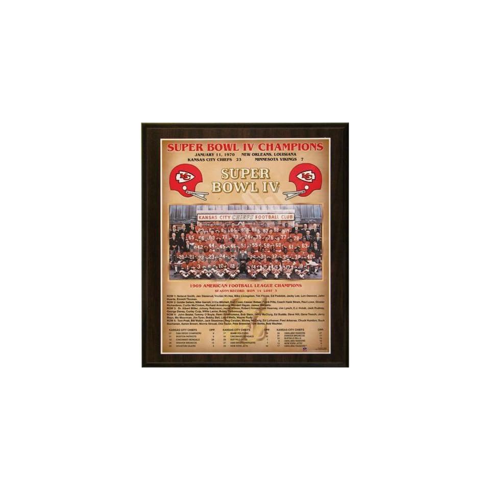 1969 Kansas City Chiefs NFL Football Super Bowl 4 IV Championship 13x16 Plaque