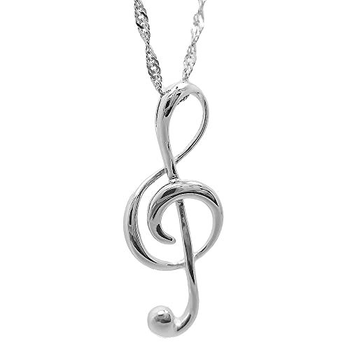 6ed90231cf44cb Image Unavailable. Image not available for. Color: Music Note 925 Sterling  Silver Pendants Necklaces ...