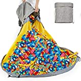 Alimto Large Play Mat and Toy Storage Organizer Baskets, Outdoor Toy Quick Storage Bag Collapsible Canvas Basket/Bin for Kids Room,Toy Organizer, Prize Box Toys for Classroom Storage (gray)