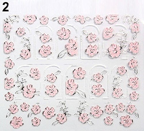 Beautiful 3D Embossed Flowers Design Sheet Manicure Nail Stickers Decal Tips Code02