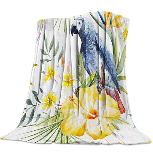 Luxury Lightweight Flannel Bed Blankets Super Soft Warm Cozy Plush Microfiber All-Season Sofa Couch Throw Blanket - Throw 40x50 Inch Tropical Blue Parrots Exotic Flower Leaves Watercolor Pattern