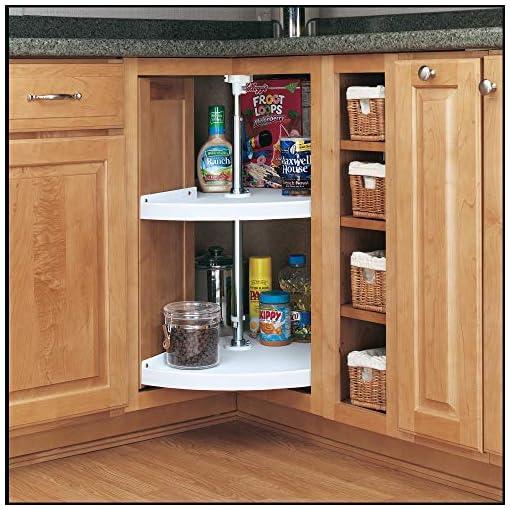 Kitchen Rev-A-Shelf 6942-28-11-52 28-Inch Polymer Pie Cut 2-Shelf Lazy Susan Corner Kitchen Cabinet Storage Organizer with… lazy susans