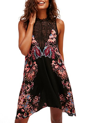 Bessla Women's Summer Floral Printing Lace Stitch Summer Casual Beach midi Dress