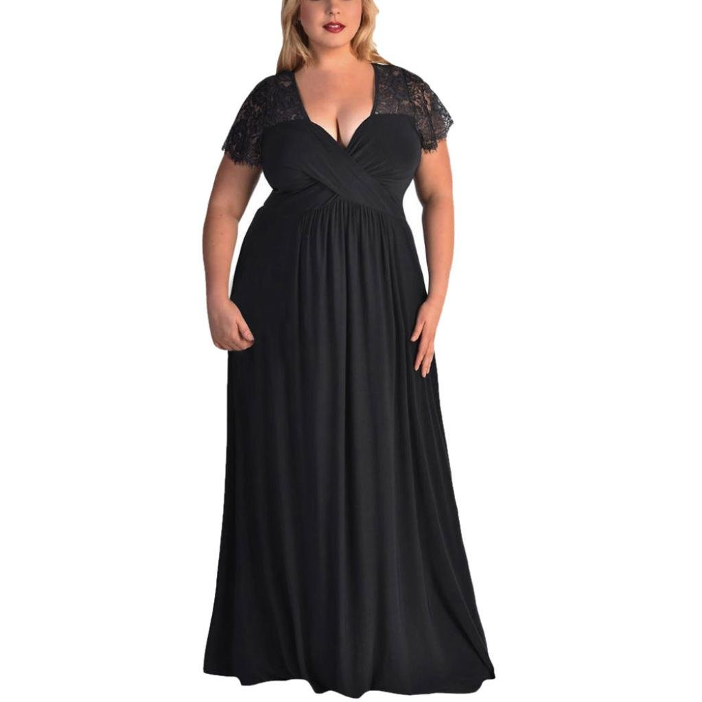 b7355a21259 This plus size maxi dress with sexy V neck and beautiful lace would  perfectly show your elegance and sexiness.