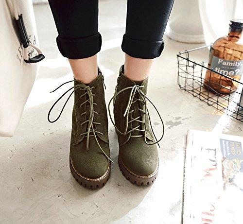 Aisun Damen Oxford Plateau Blockabsatz High Heels Schnürsenkel Martin Boots Kurzschaft Stiefel Grün
