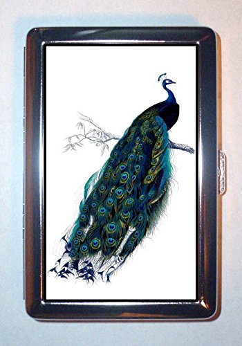 Peacock Victorian Lovely Color Illustration: ID Wallet or Cigarette Case USA Made