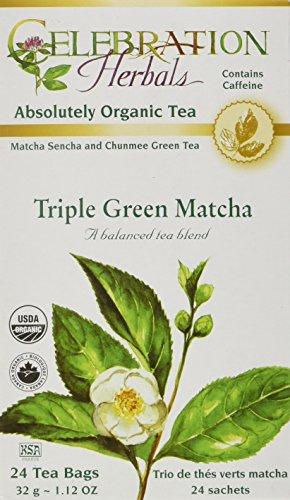 (CELEBRATION HERBALS Triple Green Matcha Tea Org 24 Bag, 0.02)