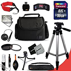 """Ideal Canon Digital Camera Accessories Kit For Canon Powershot Sx60 Hs, Sx50 Hs, Sx530 Hs, S610 Hs, Sx710 Hs, Sx410 Is, Gx 7, G1 X, G1 X Mark Ii, G1 X,g15, G16, Sx520 Hs, Sx600 Hs, Sx700 Hs, Sx510 Hs, D30, D20, Sx500 Is, S200, S120, N, N100, Sx50 Hs, Sx40 Hs,sx280 Hs, Sx270 Hs, Sx260 Hs, A2500, A1400, A3500 Is, S110, Sx170 Is, Sx160 Is, Sx500 Is, A810, A1300, A2300, A2400 Is, A3400 Is, A4000 Is, Sx240 Hs, Sx260 Hs Digital Cameras Includes: 16gb High Speed Sd Memory Card + Fits All Well Padded Case + Full Size 60"""" Inch Tripod + 58mm Uv Protection Filter + 58mm Center Pinch Lens Cap + Lens Cap Holder + Memory Card Wallet Case Holder + Floating Foam Hand-strap + Universal Memory Card Reader + 2 Screen Protectors + Cleaning Dust Blower + Cleaning Pen + Mini Flexible Table Tripod + Deluxe Cleaning Kit"""