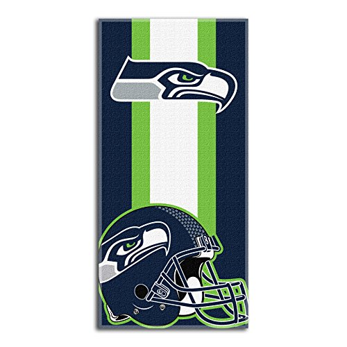(The Northwest Company NFL Seattle Seahawks Zone Read Beach Towel, Blue, 30'' x)