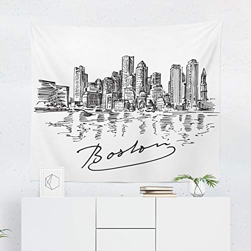 Boston Tapestry Wall Hanging - Printed in the USA - Small to Giant Sizes - Massachusetts City Sketch Cityscape Tapestries Dorm Room Bedroom Décor - Wall Boston Usa