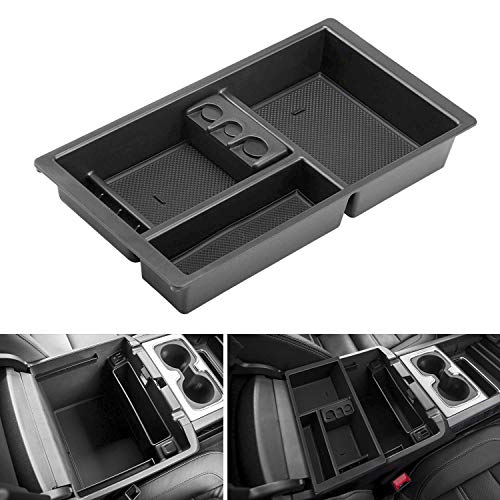 Seven Sparta Center Console Organizer for Chevy/Chevrolet Tahoe Suburban Silverado GMC Sierra Yukon 2015-2018 ABS Tray Armrest Box Secondary Storage Full Console w/Bucket Seats ONLY (Black) (Tray Console)
