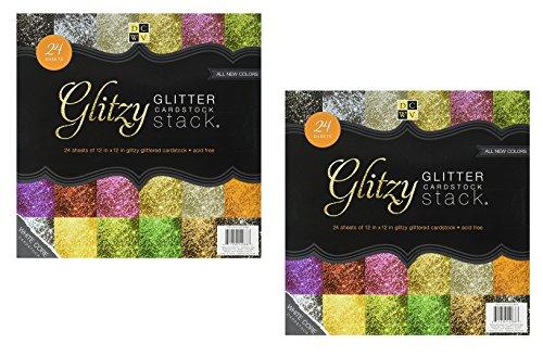 DCWV The Glitzy Glitter Cardstock Stack 12