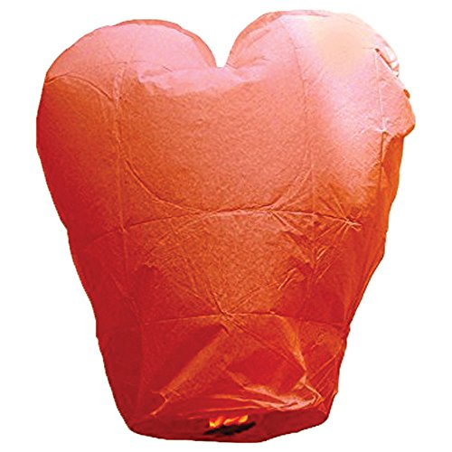 Just Artifacts Premium Quality ECO Wire-Free Flying Chinese Sky Lanterns (Set of 10, Heart, Red) - Topnotch Flight, 100% Biodegradable, Environmentally Friendly Lanterns! ()