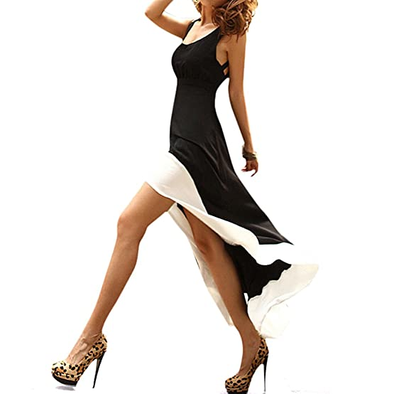 Amazon Toptie Cross Back Hi Low Dress Black With White Trim